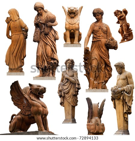 Collection of statues isolated on white background - stock photo