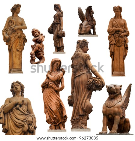 Collection of statues isolated on white background II. - stock photo