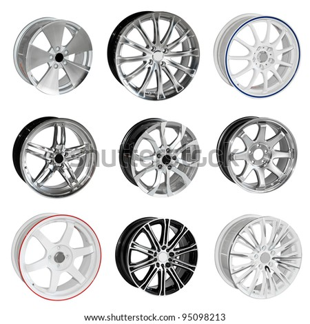 Collection of steel alloy car rim isolated on white. With Save path for Change the background for design work - stock photo
