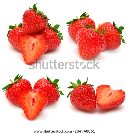 Collection of strawberries isolated on white background - stock photo