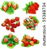 Collection of strawberries  on white background. Isolated - stock photo