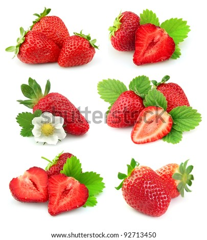 collection of strawberry fruits on white background - stock photo