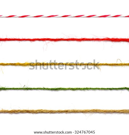 collection of strings on white background every one is shot separately