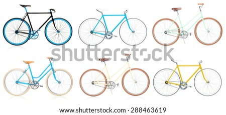 Collection of stylish colorful hipsters bicycle isolated on white background - stock photo