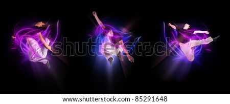 collection of stylish modern ballet dancer jumping on black - stock photo