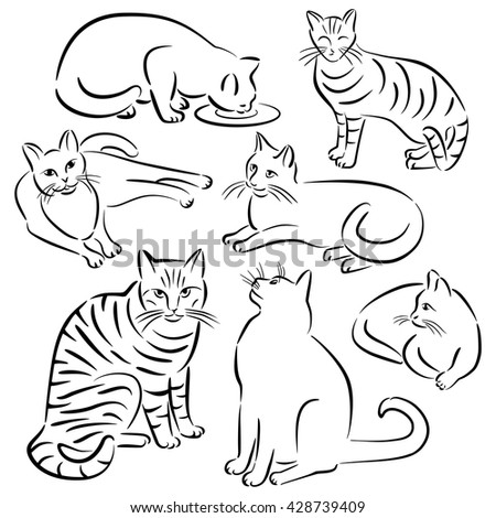 Collection #3 of stylized cats in various poses in a brush stroke style.
