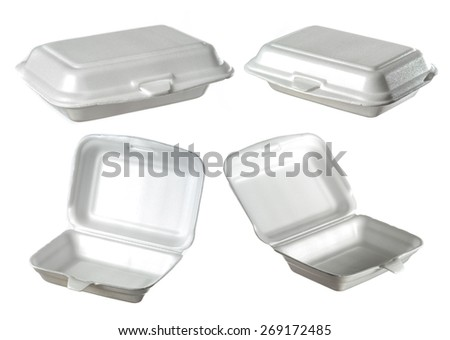 collection of styrofoam box isolated on white - stock photo