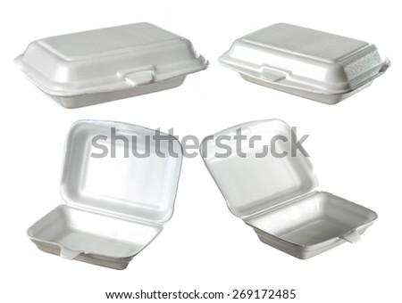 collection of styrofoam box isolated on white - stock photo
