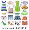 collection of summer clothes - stock photo