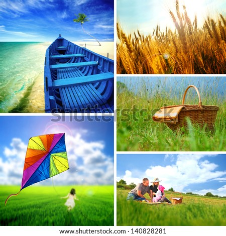 Collection of summer images - stock photo