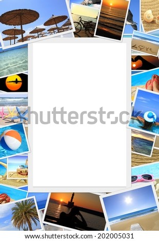 Collection of summer vacation photos with copy space - stock photo