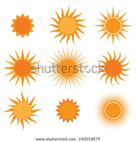 collection of sun icons - stock photo