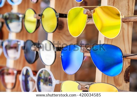 Collection of sunglasses. - stock photo