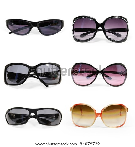 collection of sunglasses isolated - stock photo