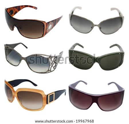 collection of sunglasses isolated on white - stock photo