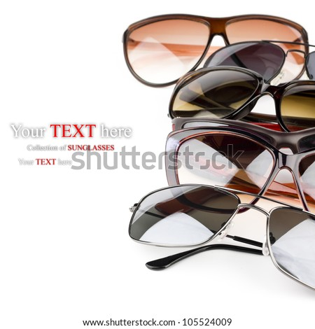 Collection of sunglasses on white background - stock photo