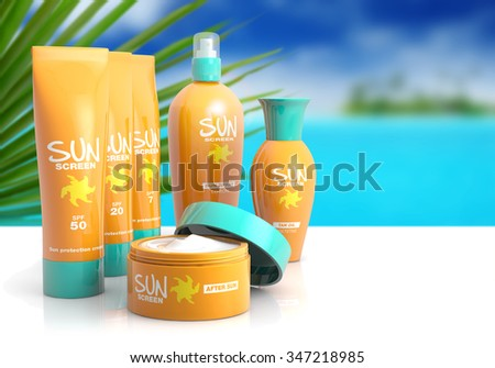 collection of sunscreen on white table with tropical background - stock photo