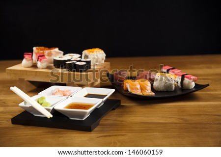 Collection of sushi  - stock photo