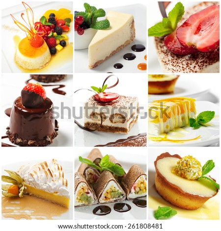 Collection of Sweet Dessert Slice - stock photo