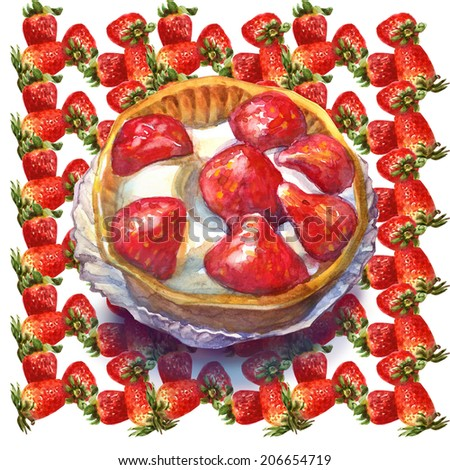 Collection of sweet desserts .Fresh Fruits tart. Strawberries. Watercolor illustration. - stock photo