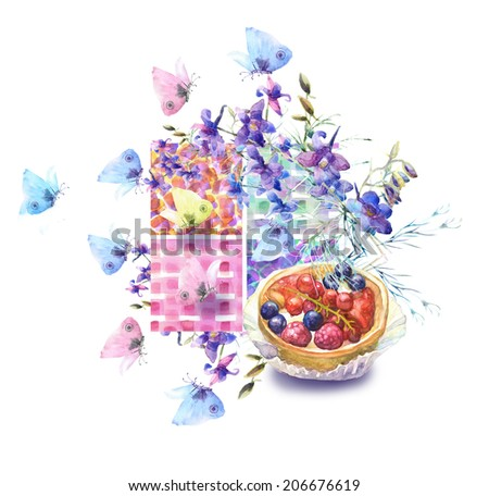 Collection of sweet desserts .Fresh Fruits tart,summer blue flowers and butterfly.  Watercolor illustration. - stock photo