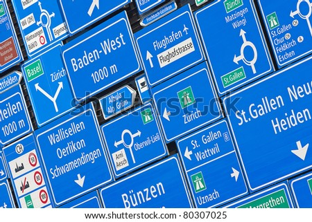 Collection of swiss road signs - stock photo