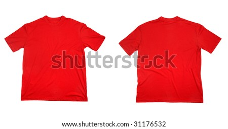 collection of  t shirts on white background. each one is in full cameras resolution. - stock photo