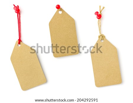 Collection of tags on a white background - stock photo
