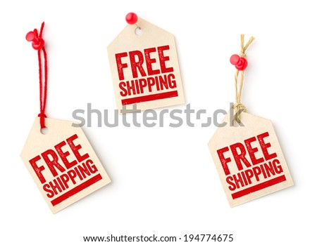 Collection of tags with the text Free shipping - stock photo