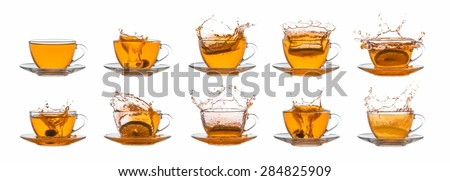 Collection of tea cups on white background - stock photo