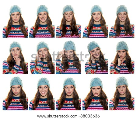 collection of teen girl expression portraits in colorful winter clothes - stock photo