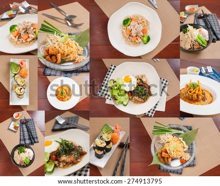 Collection of Thai street food mix with Chinese and Japanese ingredients in modern style - stock photo
