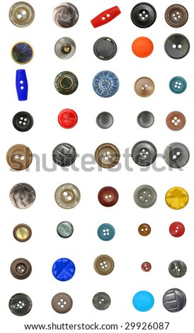 collection of the different buttons for clothes isolated on white - stock photo
