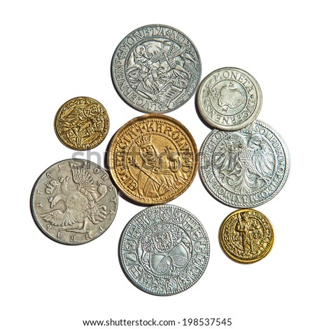 Collection of the medieval coins on the white background - stock photo