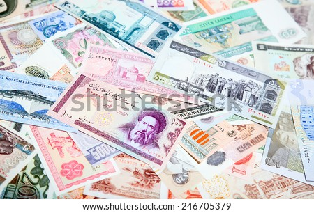 Collection of the old foreign notes - stock photo