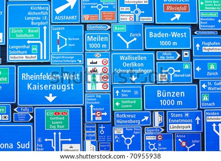 Collection of the swiss road signs - stock photo