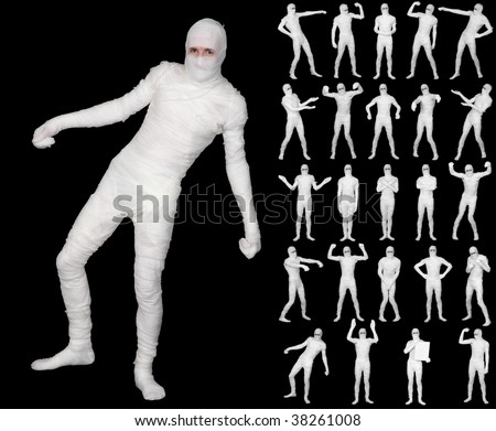 Collection of the terrible bandaged mummies isolated on a black background - stock photo