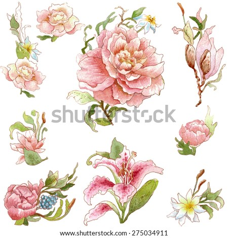 Collection of the watercolor peonies, roses, lilies. Isolated on white background. Illustration for greeting cards, invitations, and other printing projects. - stock photo