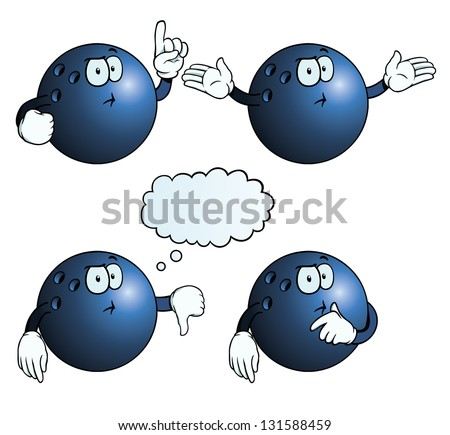 Collection of thinking bowling balls with various gestures. - stock photo