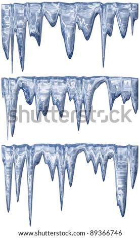 collection of three blue shade melting icicles - stock photo