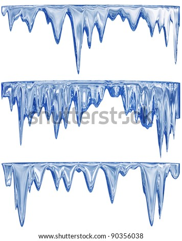 collection of three blue shade thawing icicles - stock photo
