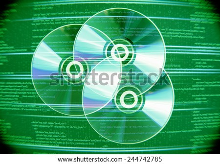 Collection of three cd discs on digital background - stock photo