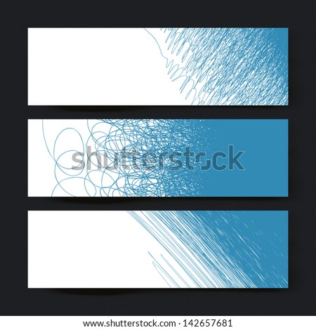 Collection of three horizontal banner designs, with creative different doodles. Raster version, vector file available in portfolio. - stock photo
