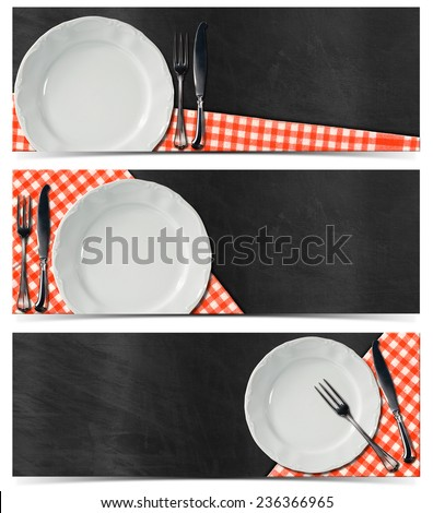 Collection of three kitchen banners with empty white plate, silver cutlery, red and white checked tablecloth on empty blackboard. Isolated on white background - stock photo