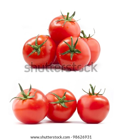 Collection of tomatoes with a light shadows, isolated on white, with clipping paths - stock photo