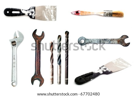 collection of 9 tools isolated on white background