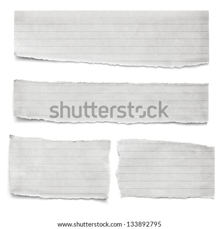 Collection of torn lined paper pieces, isolated on white. - stock photo