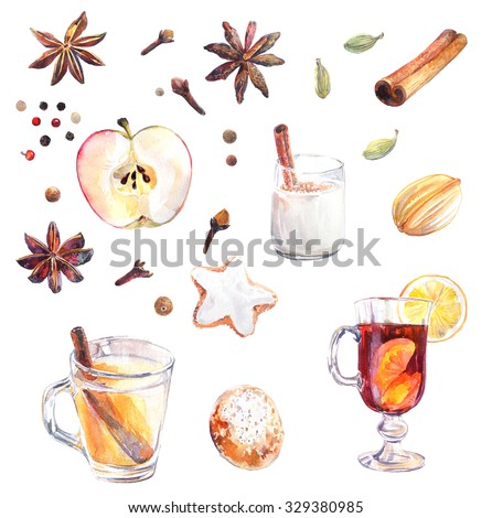 Collection of traditional Christmas food, beverages and spices drawn with watercolor. - stock photo
