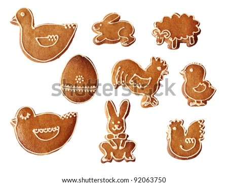 Collection of traditional handmade easter or christmas gingerbread isolated