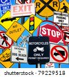 collection of traffic signs against blue sky - stock photo